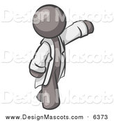 Illustration of a Gray Scientist, Veterinarian or Doctor Waving and Wearing a White Lab Coat by Leo Blanchette