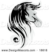Illustration of a Grayscale Horse Mascot in Profile by BNP Design Studio