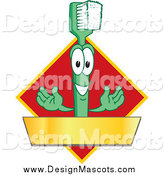 Illustration of a Green Toothbrush Mascot with a Gold Banner on a Red Diamond by Toons4Biz