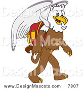 Illustration of a Griffin Mascot Walking to School by Toons4Biz