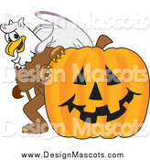 January 27th, 2014: Illustration of a Griffin Mascot with a Halloween Pumpkin by Toons4Biz