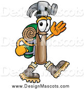 Illustration of a Hammer Mascot Hiker Waving by Toons4Biz