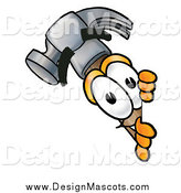 Illustration of a Hammer Mascot Looking Around a Sign by Toons4Biz