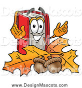 Illustration of a Happy Book Mascot with Autumn Leaves and Acorns by Toons4Biz