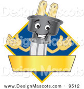 Illustration of a Happy Electric Plug Mascot Logo with a Blue Diamond and Gold Banner by Toons4Biz