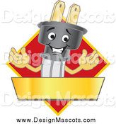 Illustration of a Happy Electric Plug Mascot Logo with a Red Diamond and Gold Banner by Toons4Biz