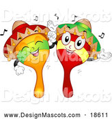 Illustration of a Happy Mexican Maraca Mascots Dancing by BNP Design Studio