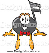 March 3rd, 2014: Illustration of a Happy Music Note Mascot Sitting by Toons4Biz