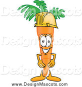 Illustration of a Happy Orange Carrot Mascot Wearing a Yellow Hardhat by Toons4Biz