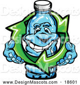 Illustration of a Happy Water Bottle Mascot Holding Recycle Arrows by Chromaco