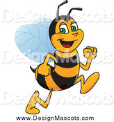 Illustration of a Happy Worker Bee Character Mascot Running by Toons4Biz
