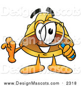 Illustration of a Hard Hat Mascot Searching with a Magnifying Glass by Toons4Biz