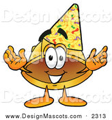 Illustration of a Hard Hat Mascot Wearing a Birthday Party Hat by Toons4Biz
