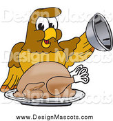 Illustration of a Hawk Mascot Character Serving a Turkey on a Platter by Toons4Biz