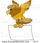 Illustration of a Hawk Mascot Flying a Blank Sign by Toons4Biz