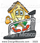 Illustration of a House Mascot Walking on a Treadmill by Toons4Biz