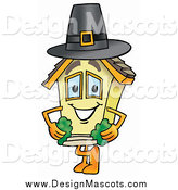 Illustration of a House Mascot Wearing a Pilgrim Hat on Thanksgiving by Toons4Biz