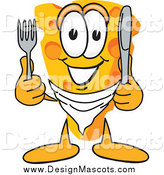 Illustration of a Hungry Cheese Mascot with Silverware by Toons4Biz