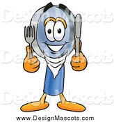 Illustration of a Hungry Magnifying Glass Mascot Holding a Knife and Fork by Toons4Biz
