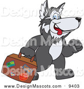Illustration of a Husky Mascot Carrying Luggage by Toons4Biz