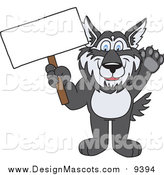 Illustration of a Husky School Mascot Waving and Holding a Blank Sign by Toons4Biz