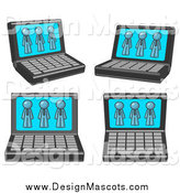 Illustration of a Laptop Computers with Denim Blue Men on Each Screen by Leo Blanchette