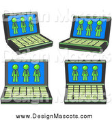 Illustration of a Laptop Computers with Lime Green Men on Each Screen by Leo Blanchette