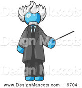 Illustration of a Light Blue Albert Einstein Holding a Pointer Stick by Leo Blanchette