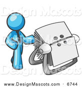 Illustration of a Light Blue Business Man Standing Beside a Rotary Card File with Blank Index Cards by Leo Blanchette