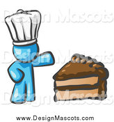 Illustration of a Light Blue Chef Presenting a Slice of Chocolate Frosted Cake by Leo Blanchette