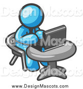 Illustration of a Light Blue Guy Working on a Laptop Computer in an Office by Leo Blanchette