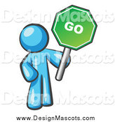 Illustration of a Light Blue Man Holding a Green Go Sign by Leo Blanchette