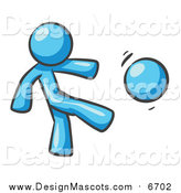 Illustration of a Light Blue Man Kicking a Ball by Leo Blanchette