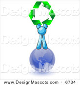 Illustration of a Light Blue Man on Top of Planet Earth and Holding up Recycle Arrows by Leo Blanchette