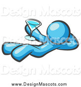 Illustration of a Light Blue Man Resting with a Martini Beverage by Leo Blanchette