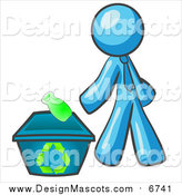 Illustration of a Light Blue Man Tossing a Plastic Container into a Recycle Bin by Leo Blanchette