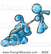 Illustration of a Light Blue Man Walking a Hound Dog That Is Pulling on a Leash by Leo Blanchette