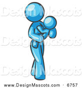 Illustration of a Light Blue Mom Carrying Her Child in Her Arms by Leo Blanchette