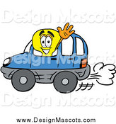February 24th, 2015: Illustration of a Light Bulb Mascot Driving a Blue Car and Waving by Toons4Biz
