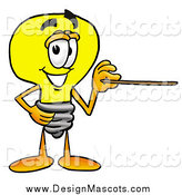Illustration of a Light Bulb Mascot Using a Pointer by Toons4Biz