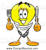 February 25th, 2014: Illustration of a Light Bulb Mascot with a Knife and Fork by Toons4Biz