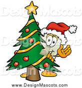February 13th, 2014: Illustration of a Light Switch Mascot Waving Around a Christmas Tree by Toons4Biz