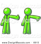 Illustration of a Lime Green Business Man Giving the Thumbs up Then the Thumbs down by Leo Blanchette