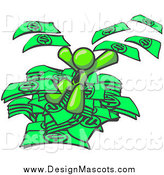 Illustration of a Lime Green Business Man Jumping in a Pile of Cash Money by Leo Blanchette