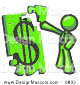 Illustration of a Lime Green Business Man Putting a Dollar Sign Puzzle Together by Leo Blanchette