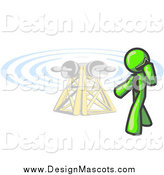 Illustration of a Lime Green Business Man Talking on a Cell Phone Close to a Communications Tower by Leo Blanchette