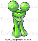 Illustration of a Lime Green Couple Embracing by Leo Blanchette