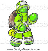 Illustration of a Lime Green Fireman by Leo Blanchette