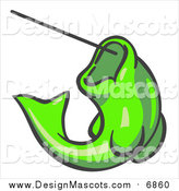 Illustration of a Lime Green Fish Biting a Hook on a Fishing Line by Leo Blanchette