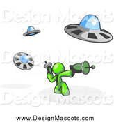 Illustration of a Lime Green Man Battling off UFO's with Weapons by Leo Blanchette